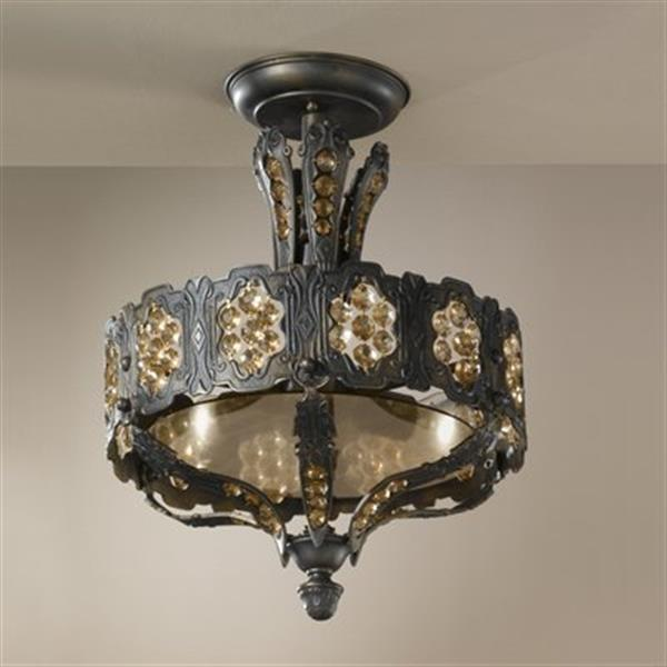 Classic Lighting Castillio de Bronce 16-in x 21-in Aged Bronze Semi Flush Ceiling Light