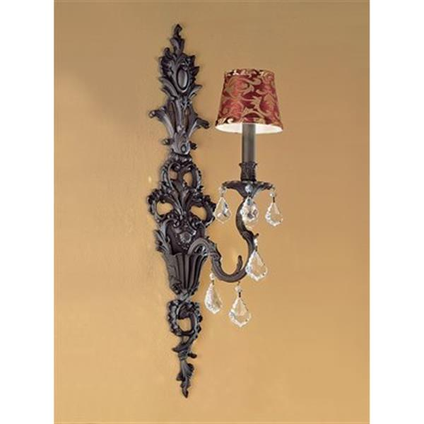 Classic Lighting Majestic 29-in x 7-in French Gold with Strass Golden Teak Crystals 1-Light Wall Sconce