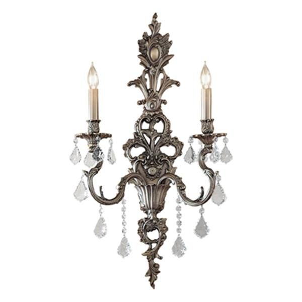 Classic Lighting Majestic 29-in x 16-in Aged Pewter with Crystalique Black Crystals 2-Light Wall Sconce