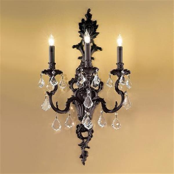 Classic Lighting Majestic 29-in x 16-in Aged Bronze with Crystalique Golden Teak Crystals 3-Light Wall Sconce