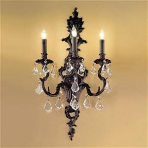 Classic Lighting Majestic 29-in x 16-in French Gold with Crystalique Black Crystals 3-Light Wall Sconce