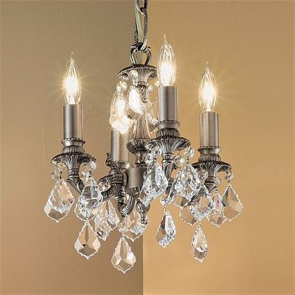 Classic Lighting Majestic Collection 10-in x 12-in Aged Pewter Crystalique Golden Teak 4-Light Mini Chandelier