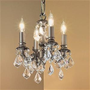 Classic Lighting Majestic Collection 10-in x 12-in Aged Pewter Crystalique-Plus 4-Light Mini Chandelier
