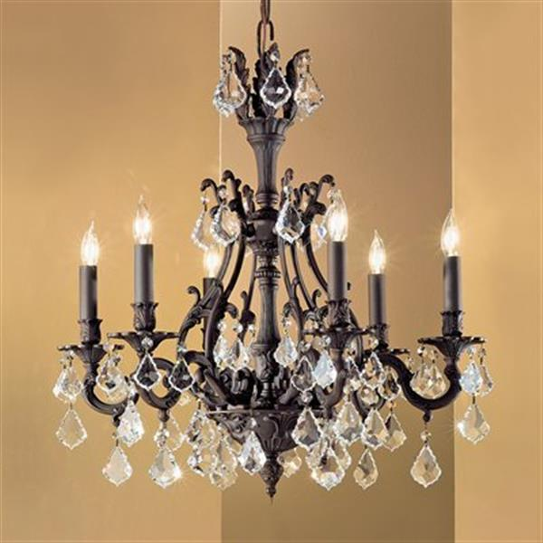 Classic Lighting Majestic Collection 25-in x 27-in Aged Pewter Crystalique Golden Teak 6-Light Chandelier
