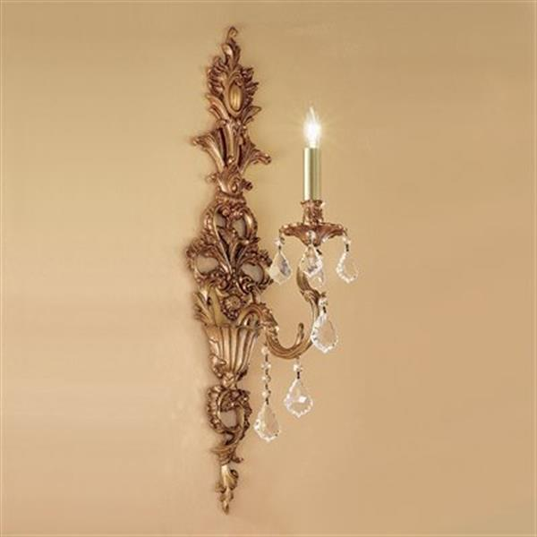 Classic Lighting Majestic Imperial 29-in x 7-in Aged Pewter with Strass Golden 1-Light Wall Sconce