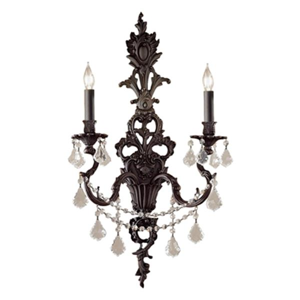 Classic Lighting Majestic Imperial 29-in x 16-in Aged Pewter with Crystalique Golden 2-Light Wall Sconce