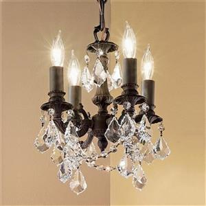 Classic Lighting Majestic Imperial Collection 10-in x 12-in Aged Pewter Crystalique Golden Teak 4-Light Mini Chandelier