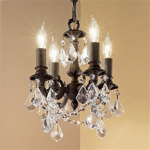Classic Lighting Majestic Imperial Collection 10-in x 12-in Aged Pewter Strass Golden Teak 4-Light Mini Chandelier