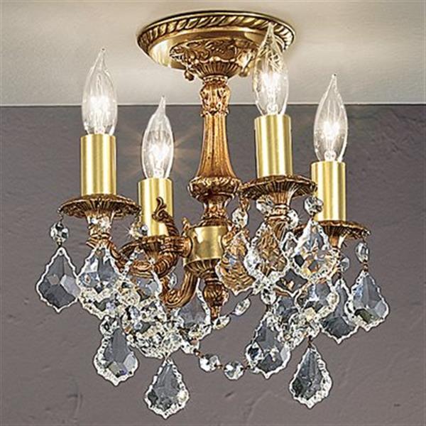 Classic Lighting Majest Imperial 4-Light Aged Pewter Semi Flush Ceiling Light