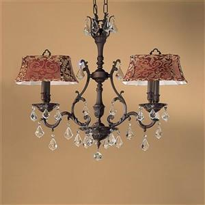 Classic Lighting Majestic Collection Aged Pewter Swarovski Spectra 4-Light Chandelier