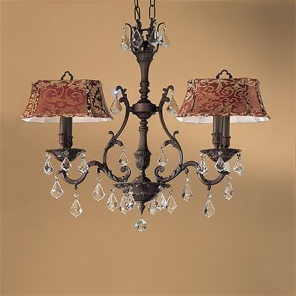 Classic Lighting Majestic Collection Aged Pewter Strass Golden Teak 4-Light Chandelier