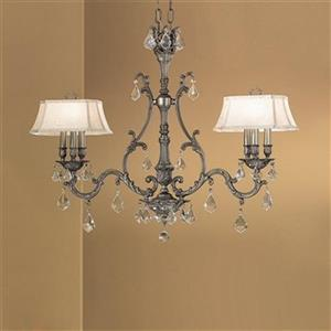 Classic Lighting Majestic Collection Aged Pewter Crystalique Golden Teak 6-Light Chandelier