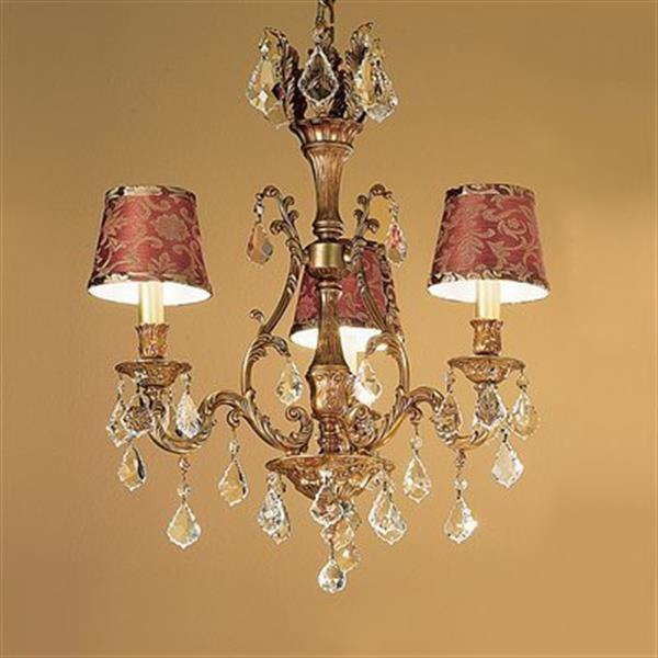 Classic Lighting Majestic Collection Aged Brass Strass Golden Teak 3-Light Chandelier