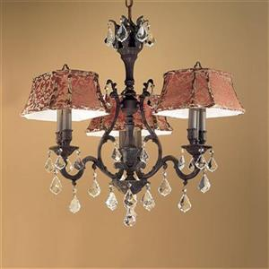 Classic Lighting Majestic Collection 36-in Aged Pewter Crystalique Black 6-Light Dinette Chandelier