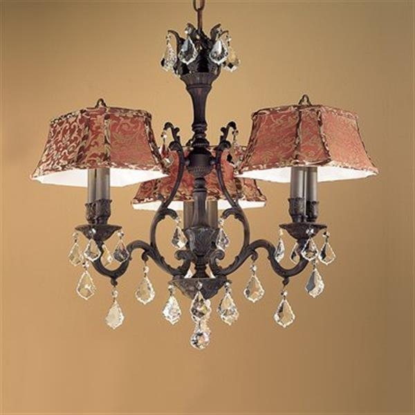 Classic Lighting Majestic Collection 36-in Aged Pewter Crystalique Golden Teak 6-Light Dinette Chandelier