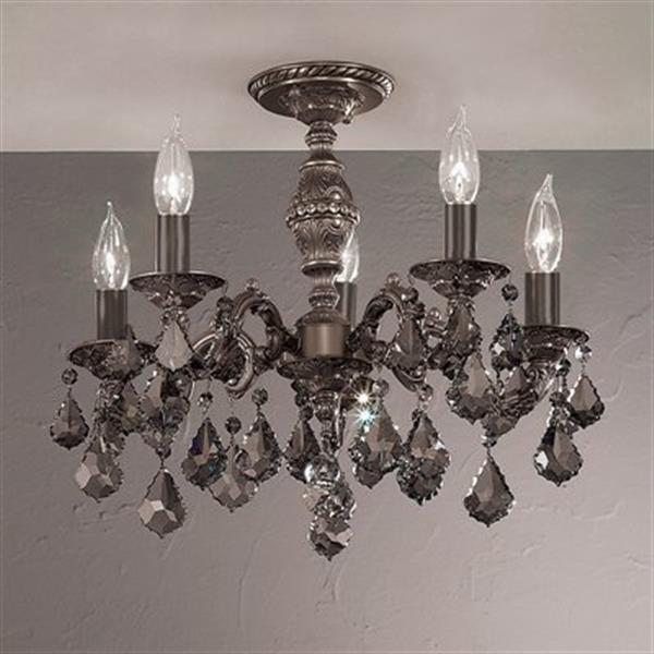 Classic Lighting Chateau 5-Light Aged Pewter Semi Flush Ceiling Light