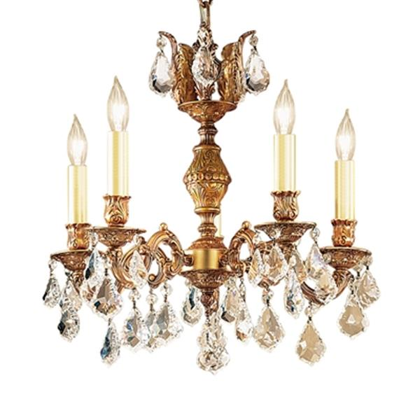Classic Lighting Chateau Collection 36-in Aged Brass Crystalique Golden Teak 5-Light Chandelier