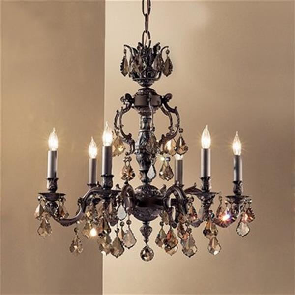 Classic Lighting Chateau Collection 36-in Aged Pewter Crystalique Golden Teak 6-Light Chandelier
