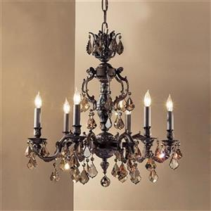 Classic Lighting Chateau Collection 36-in Aged Pewter Strass Golden Teak 6-Light Chandelier