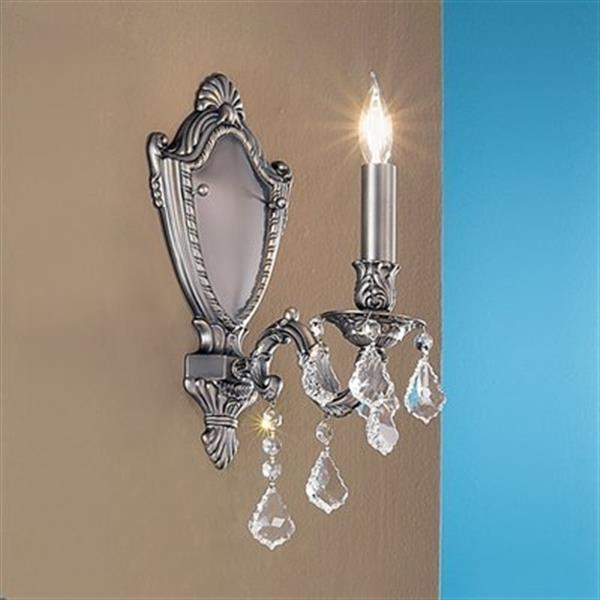 Classic Lighting Chateau Imperial Aged Pewter Crystalique Golden Teak Wall Sconce