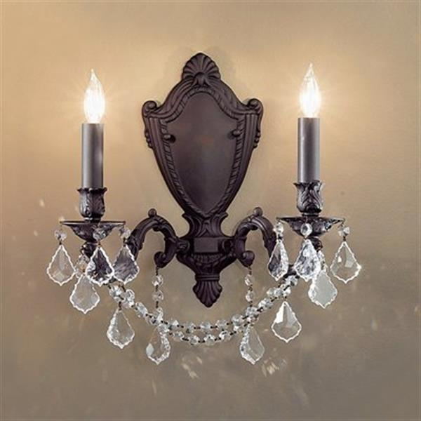 Classic Lighting Chateau Imperial Aged Bronze Crystalique Black 2-Light Wall Sconce