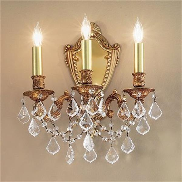 Classic Lighting Chateau Imperial Aged Pewter Crystalique Golden Teak 3-Light Wall Sconce