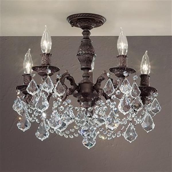 Classic Lighting Chateau Imperial 5-Light Aged Bronze Semi Flush Ceiling Light