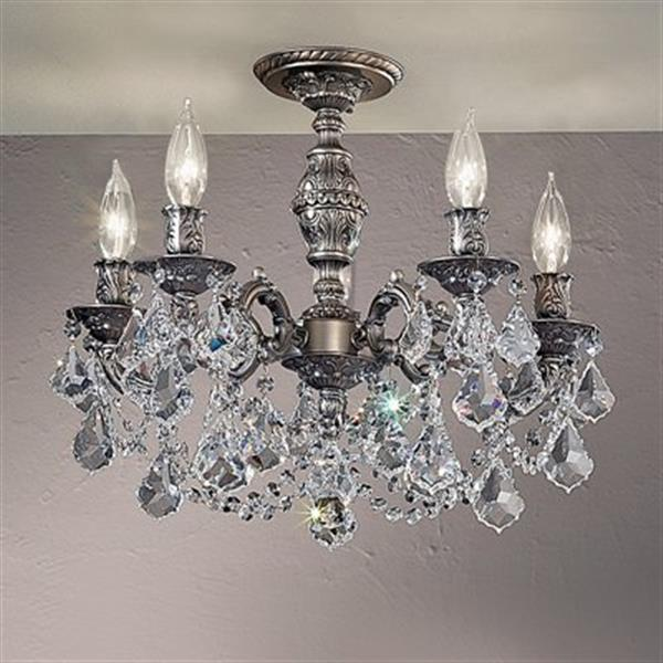 Classic Lighting Chateau Imperial 5-Light Aged Pewter Semi Flush Ceiling Light