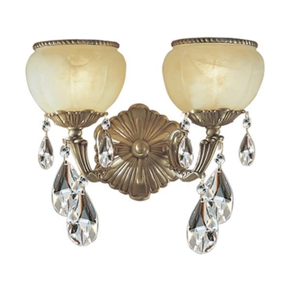 Classic Lighting Alexandria Satin Bronze Crystalique 2-Light Wall Sconce