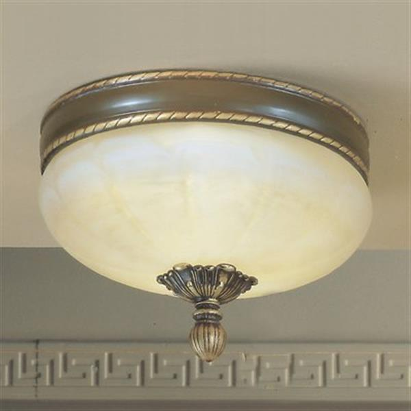 Classic Lighting 3-Light Satin Bronze Alexandria Flush Mount Ceiling Light