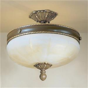 Classic Lighting Alexandria  4-Light Satin Bronze with Brown Patina Semi Flush Ceiling Light
