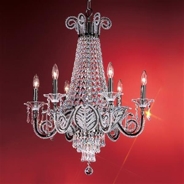 Classic Lighting 6-Light Black Beaded Leaf Chandelier
