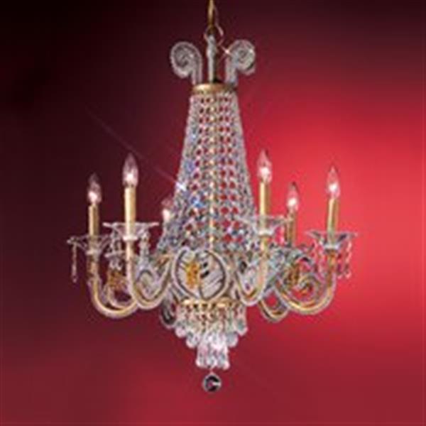 Classic Lighting 6-Light Gold Beaded Leaf Chandelier