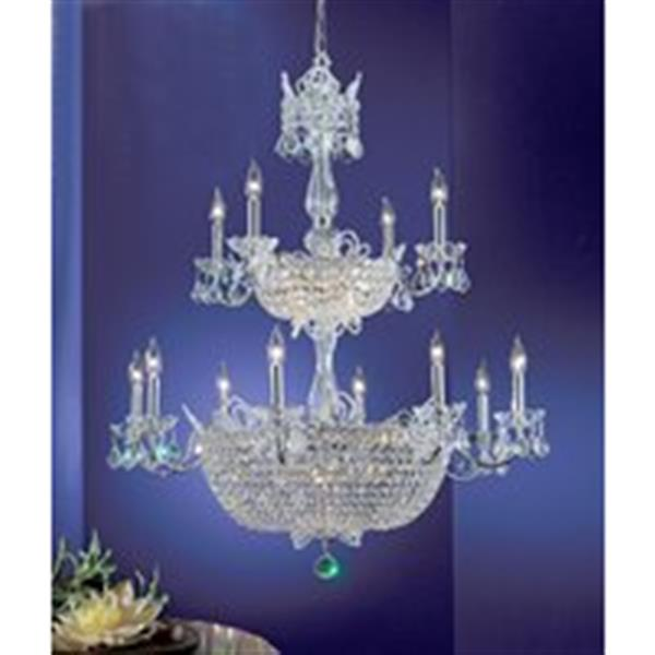 Classic Lighting Crown Jewels Gold Plated Swarovski Spectra 32-Light Chandelier