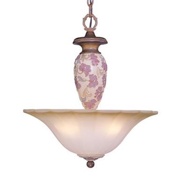 Classic Lighting 3-Light Tapestry Honey Walnut Large Bowl Pendant Light