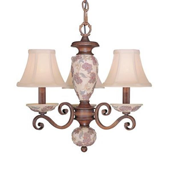 Classic Lighting Tapestry  Honey Walnut 3-Light Mini Chandelier
