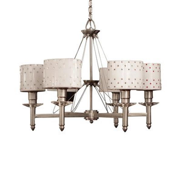 Classic Lighting Felicia Strass Brushed Steel Strass Siam Red 6-Light Chandelier