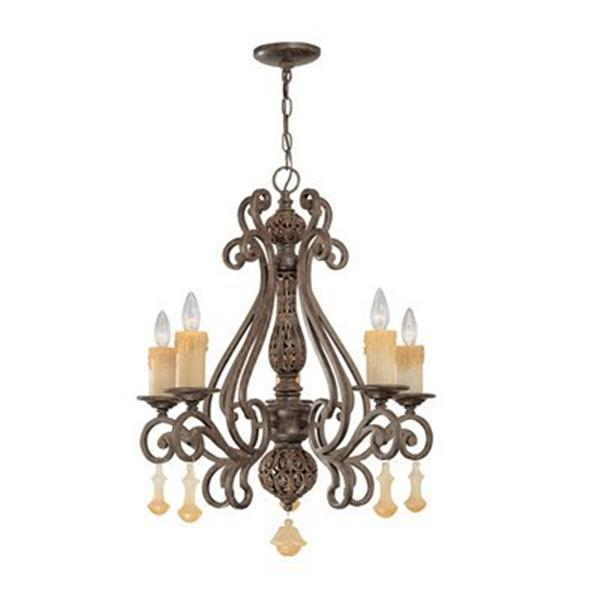 Classic Lighting Riviera Tortoise Shell 5-Light Chandelier