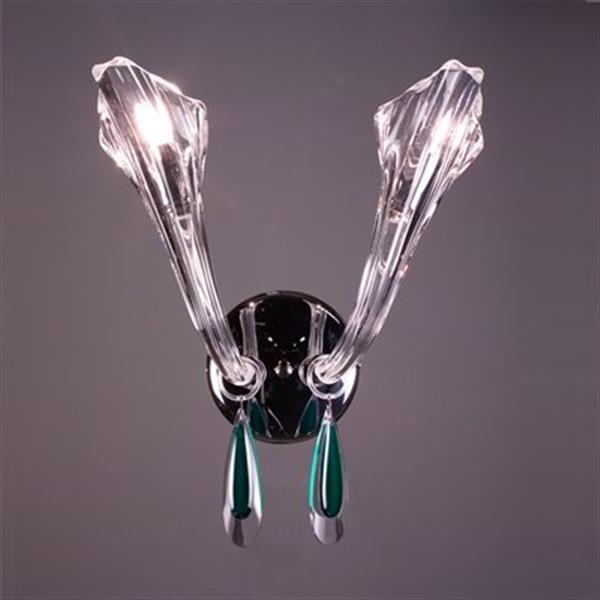 Classic Lighting Inspiration 13-in x 10-in Chrome/Oriental Green 2-Light Wall Sconce
