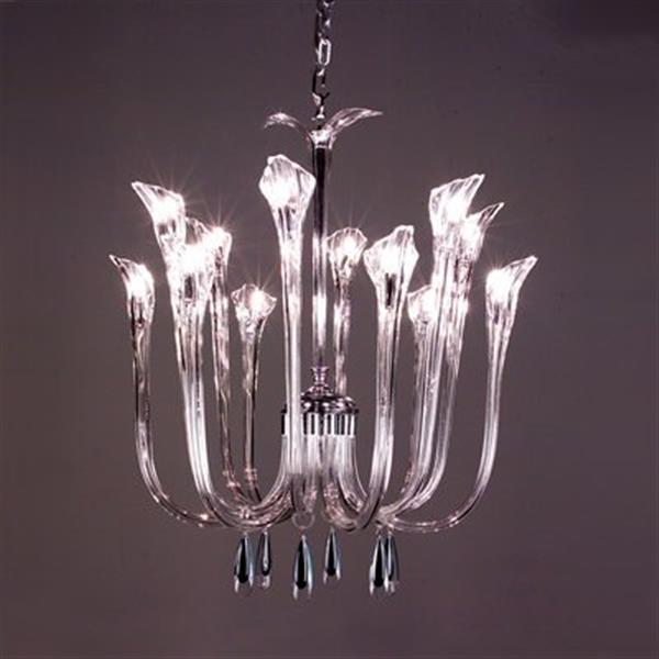 Classic Lighting Inspiration Chrome Blue Lacquer 12-Light Chandelier
