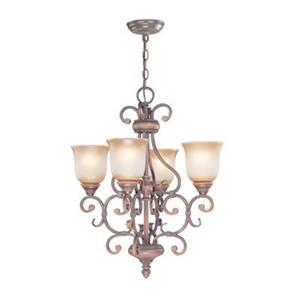 Classic Lighting Eagle Pointe 21-in x 25-in Hand Rubbed Mahogany 4-Light Chandelier