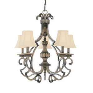 Classic Lighting Westchester 25-in x 27-in Honey Rubbed Walnut 5-Light Chandelier
