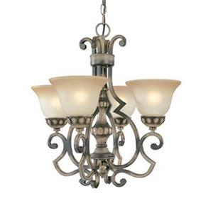 Classic Lighting Westchester 21-in x 22-in Honey Rubbed Walnut 4-Light Chandelier