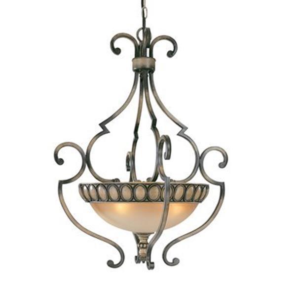 Classic Lighting Westchester Honey Rubbed Walnut Large Bowl Pendant Lighting