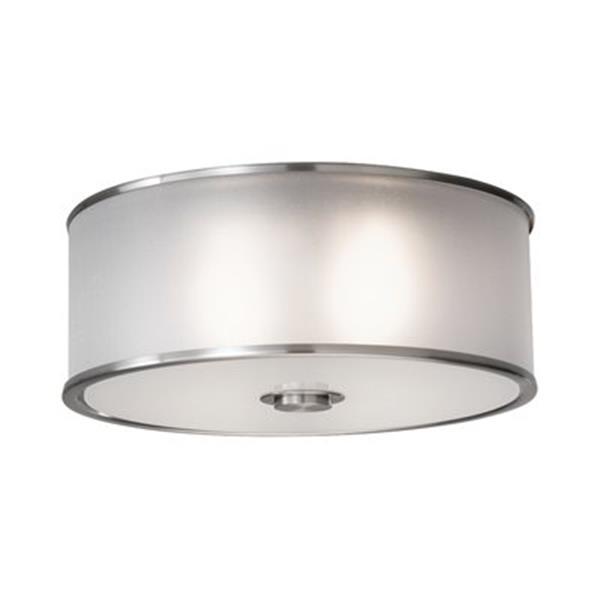 Feiss 2-Light Brushed Steel Casual Luxury Flush Mount Ceiling Light