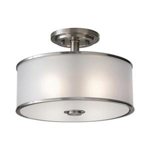Feiss Casual Luxury 2-Light Brushed Steel Semi Flush Ceiling Light.