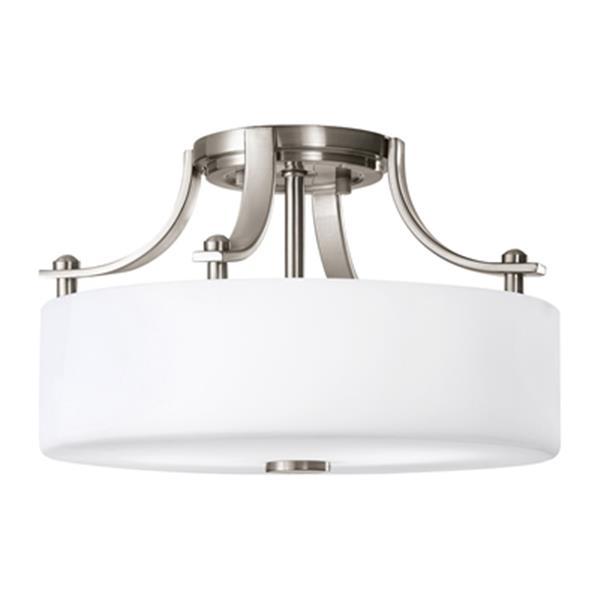Feiss Sunset Drive 2-Light Brushed Steel Semi Flush Ceiling Light