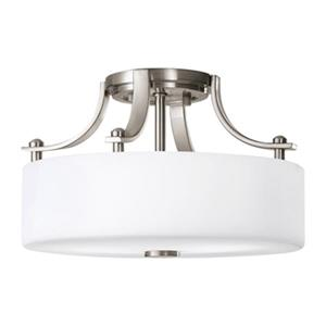 Feiss Sunset Drive 2-Light Brushed Steel Semi Flush Ceiling Light.