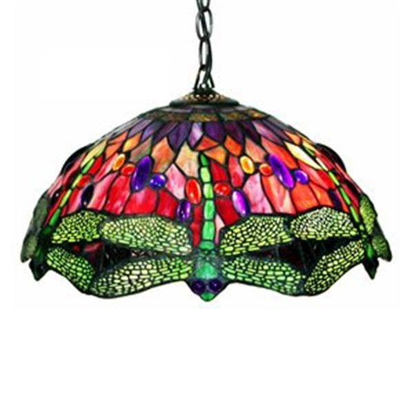 Warehouse of Tiffany 2-Light Tiffany Style Red Dragonfly Large Pendant Light