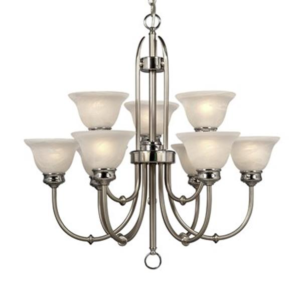 Galaxy Promenade Collection 29-in x 18.70-in Brushed Nickel 9-Light Chandelier